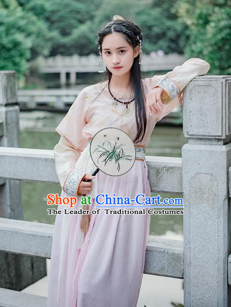 Traditional Chinese Ancient Palace Lady Costume, Asian China Tang Dynasty Royal Princess Embroidered Pink Blouse and Slip Skirts for Women