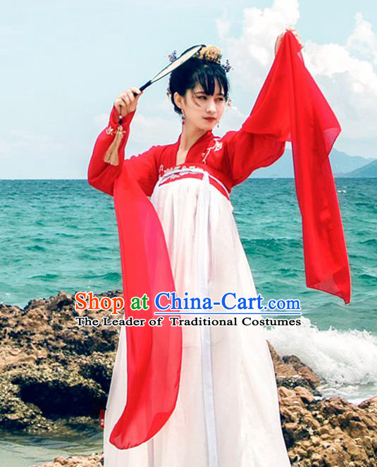 Traditional Chinese Ancient Palace Lady Costume, Asian China Tang Dynasty Princess Embroidered Red Blouse Dress Clothing for Women