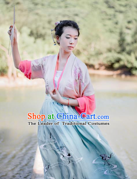 Traditional Chinese Ancient Palace Lady Costume, Asian China Tang Dynasty Princess Embroidered Half-Sleeves Clothing for Women