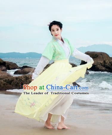Traditional Chinese Ancient Palace Lady Costume, Asian China Tang Dynasty Princess Embroidered Half-Sleeves Slip Skirts Clothing for Women