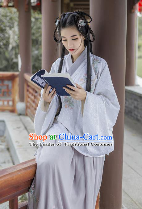 Traditional Chinese Ancient Palace Lady Costume, Asian China Ming Dynasty Princess Embroidered Purple Blouse and Slip Skirts for Women