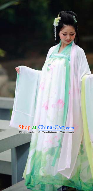 Traditional Chinese Ancient Palace Lady Costume, Asian China Tang Dynasty Princess Embroidered Wide Sleeve Cardigan for Women