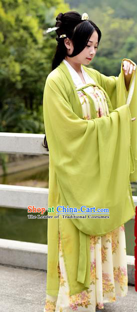 Traditional Chinese Ancient Palace Lady Costume, Asian China Tang Dynasty Princess Embroidered Wide Sleeve Green Cardigan for Women