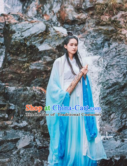 Traditional Chinese Ancient Palace Lady Costume, Asian China Jin Dynasty Princess Blue Dress for Women