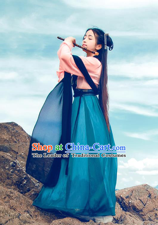 Traditional Chinese Ancient Palace Lady Costume, Asian China Tang Dynasty Princess Embroidered Blouse and Blue Slip Skirt for Women