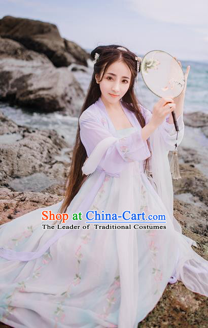 Traditional Chinese Ancient Palace Lady Costume, Asian China Song Dynasty Princess Embroidered BeiZi Blouse and Skirts for Women