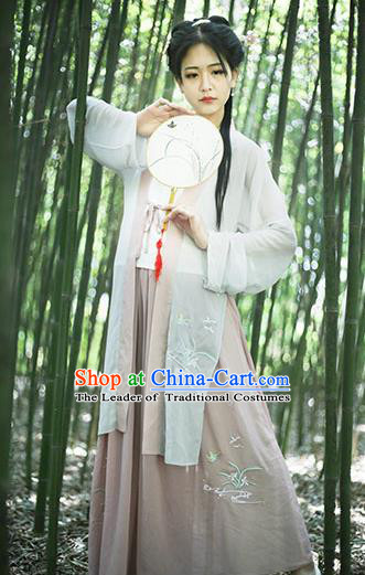 Traditional Chinese Ancient Young Lady Costume Complete Set, Asian China Song Dynasty Princess Embroidered Blouse and Pants for Women