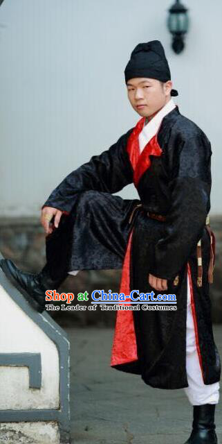 Traditional Chinese Ancient Costume Black Robe, Asian China Ming Dynasty Swordsman Embroidered Clothing for Men