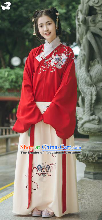 Traditional Chinese Ancient Hanfu Princess Costume, Asian China Ming Dynasty Young Lady Embroidered Clothing Complete Set for Women