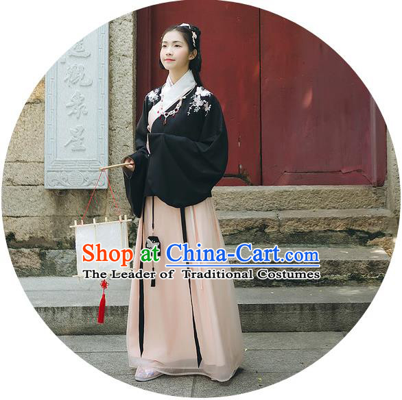 Traditional Chinese Ancient Hanfu Princess Costume Black Blouse and Skirts, Asian China Ming Dynasty Young Lady Embroidered Clothing for Women