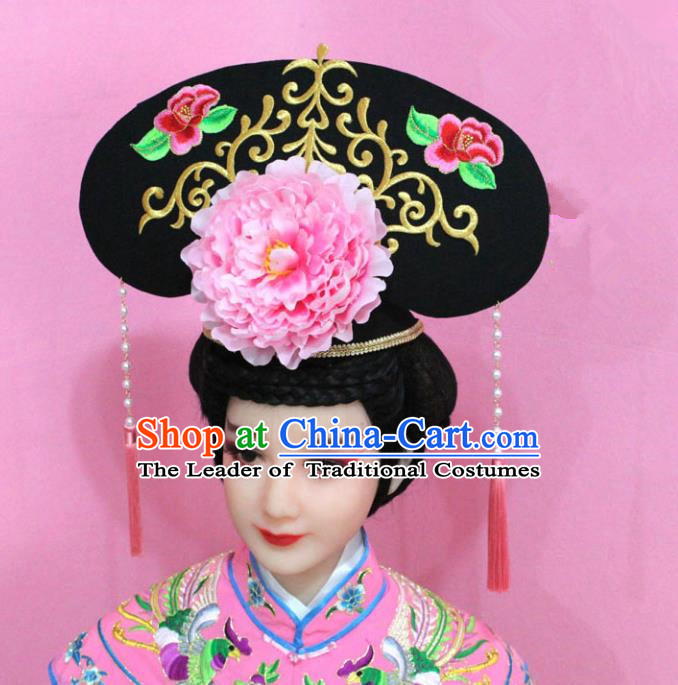 Traditional Handmade Chinese Hair Accessories Qing Dynasty Palace Lady Pink Peony Headwear, Manchu Imperial Concubine Hairpins for Women