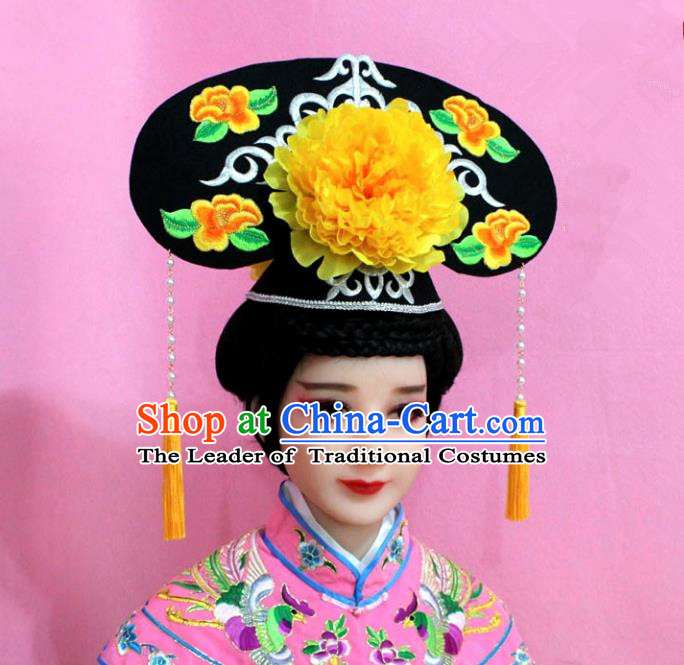 Traditional Handmade Chinese Hair Accessories Qing Dynasty Palace Lady Yellow Peony Headwear, Manchu Imperial Concubine Hairpins for Women