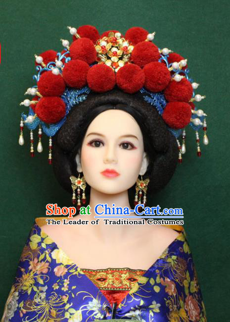 Traditional Handmade Chinese Hair Accessories Empress Red Venonat Phoenix Coronet, Tang Dynasty Princess Headwear for Women