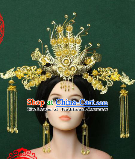 Traditional Handmade Chinese Hair Accessories Tang Dynasty Empress Tassel Hairpins Golden Phoenix Coronet, China Palace Lady Headwear for Women