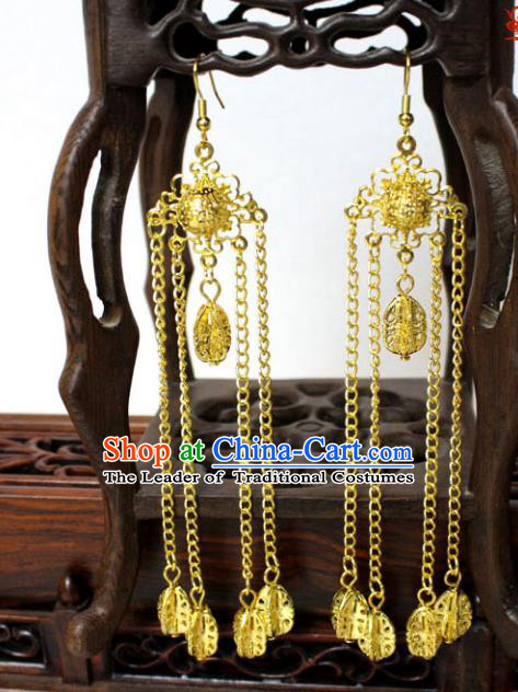 Traditional Handmade Chinese Accessories Tang Dynasty Empress Tassel Golden Earrings for Women