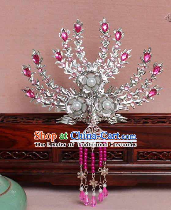 Traditional Handmade Chinese Hair Accessories Princess Rosy Crystal Phoenix Hairpins, Tang Dynasty Palace Lady Tassel Frontlet Step Shake for Women