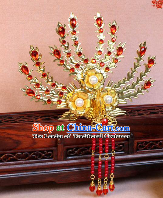 Traditional Handmade Chinese Hair Accessories Princess Golden Phoenix Frontlet Hairpins, Ming Dynasty Palace Lady Red Tassel Step Shake for Women