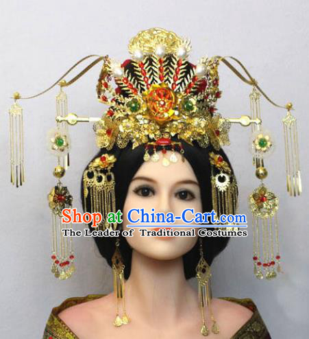 Traditional Handmade Chinese Hair Accessories Tang Dynasty Empress Phoenix Coronet Complete Set, China Palace Lady Hairpins Tassel Step Shake for Women