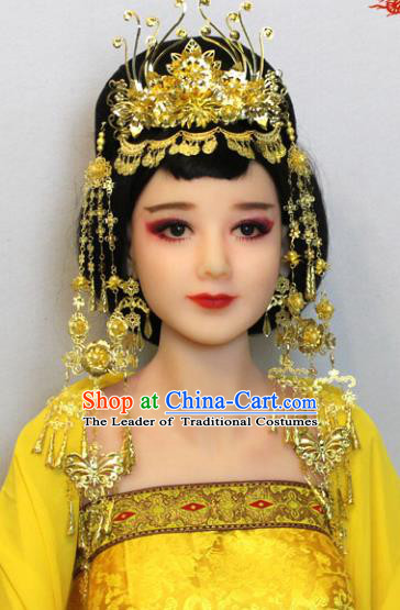 Traditional Handmade Chinese Hair Accessories Tang Dynasty Princess Golden Phoenix Coronet Complete Set, China Palace Lady Hairpins Tassel Step Shake for Women