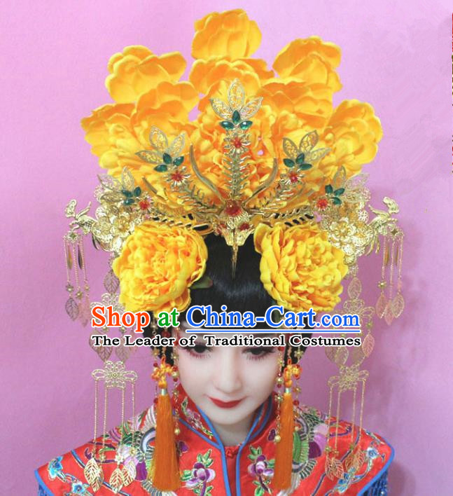 Traditional Handmade Chinese Hair Accessories Tang Dynasty Empress Yellow Peony Phoenix Coronet Tassel Step Shake Hairpins for Women