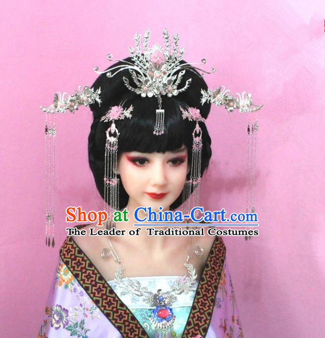 Traditional Handmade Chinese Hair Accessories Empress Pink Flower Phoenix Coronet, China Tang Dynasty Hairpins Tassel Step Shake Complete Set for Women