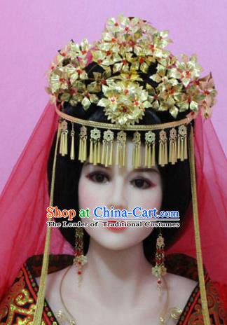 Traditional Handmade Chinese Hair Accessories Princess Phoenix Coronet, China Han Dynasty Xiuhe Suit Hairpins Complete Set for Women