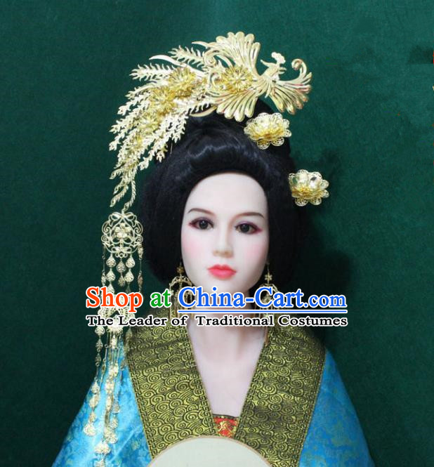 Traditional Handmade Chinese Hair Accessories Empress Golden Phoenix Coronet, China Han Dynasty Queen Tassel Hairpins for Women
