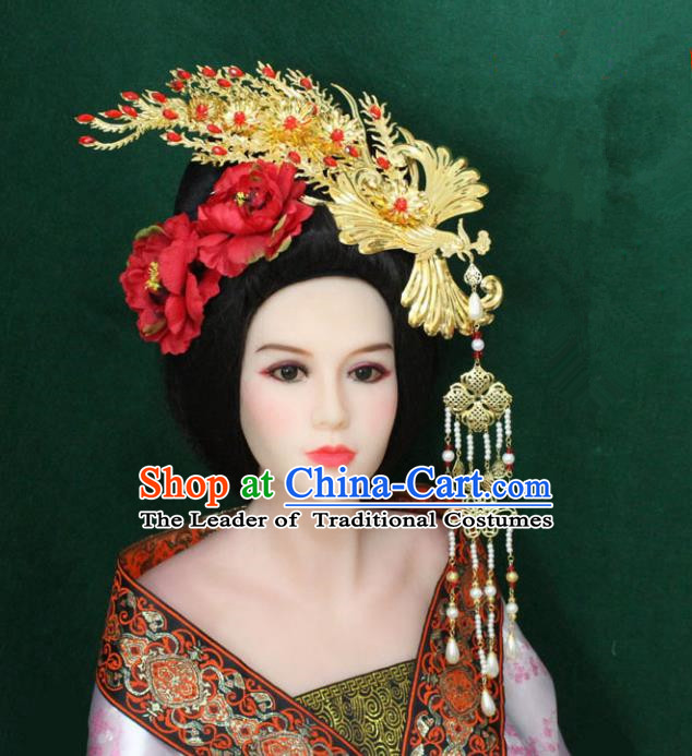 Traditional Handmade Chinese Hair Accessories Tang Dynasty Empress Phoenix Coronet, China Ancient Tassel Peony Hairpins Complete Set for Women