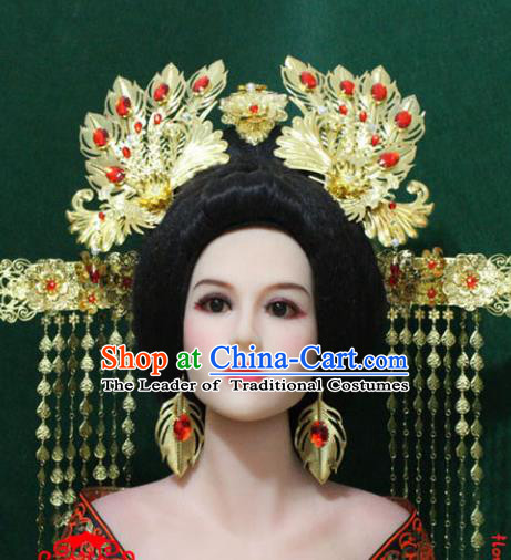 Traditional Handmade Chinese Hair Accessories Tang Dynasty Empress Phoenix Coronet Ancient Hair Comb Hairpins Headwear for Women