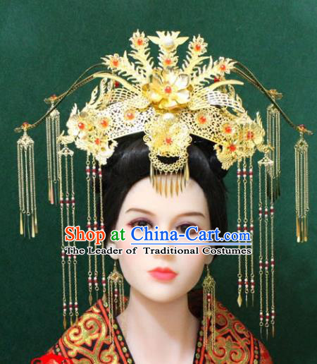Traditional Handmade Chinese Hair Accessories Tang Dynasty Wedding Phoenix Coronet, Royal Princess Tassel Hairpins Complete Set for Women