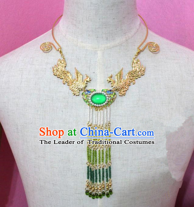 Traditional Handmade Chinese Jewelry Accessories Princess Necklace, China Tang Dynasty Empress Tassel Phoenix Necklet for Women