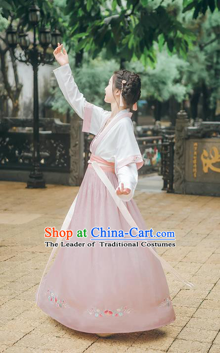 Asian Chinese Ancient Hanfu Palace Lady Costume, Traditional China Tang Dynasty Princess Embroidery Blouse and Skirts Complete Set