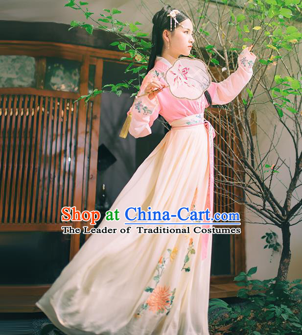 Asian China Han Dynasty Hanfu Costume Traditional Chinese Princess Embroidery Pink Dress Clothing Complete Set