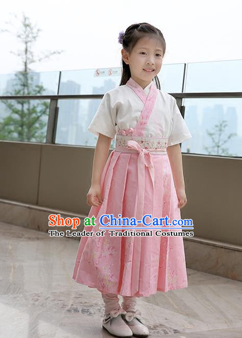Asian China Tang Dynasty Hanfu Costume, Traditional Chinese Princess Pink Dress Clothing for Kids