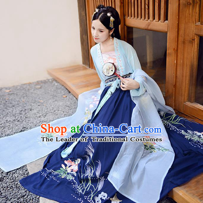Asian China Ancient Tang Dynasty Hanfu Costume, Traditional Chinese Princess Embroidered Blue Blouse and Skirts for Women