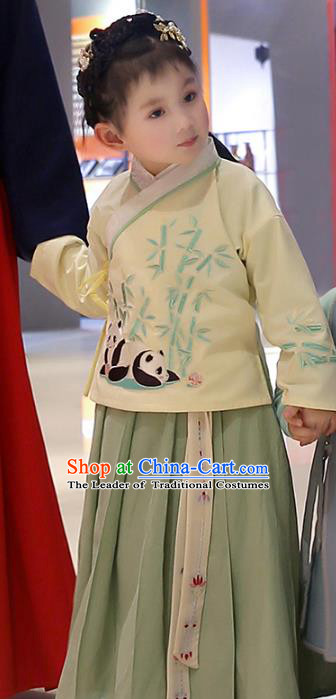 Asian China Ancient Ming Dynasty Children Costume Complete Set, Traditional Chinese Princess Embroidered Bamboo Yellow Blouse and Skirts for Kids