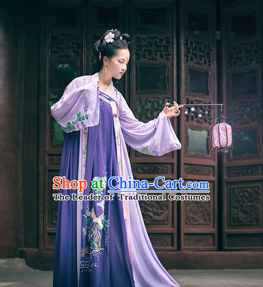 Asian China Ancient Tang Dynasty Palace Lady Costume Complete Set, Traditional Chinese Princess Embroidered Purple Dress for Women