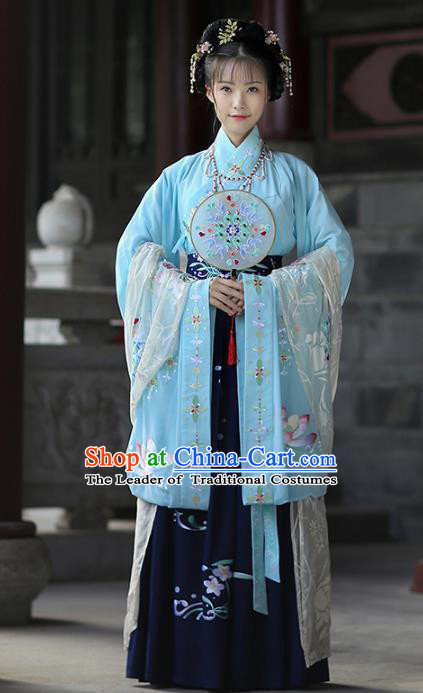 Asian China Ancient Ming Dynasty Palace Lady Costume Blouse and Skirts, Traditional Chinese Princess Printing Embroidered Clothing for Women