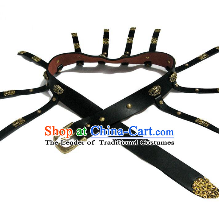 Traditional Handmade Chinese Accessories Ming Dynasty Emperor Belts, China Majesty Black Leather Waistband for Men