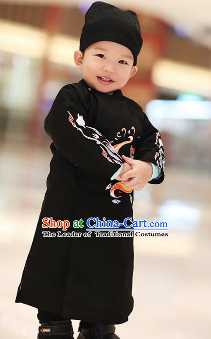 Traditional Chinese Ancient Hanfu Costume Embroidered Black Round Collar Robe, Asian China Ming Dynasty Palace Clothing for Kids