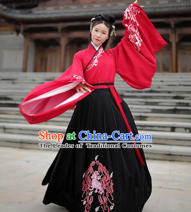 Traditional Chinese Ancient Hanfu Costume Embroidered Blouse and Skirts, Asian China Han Dynasty Palace Lady Clothing for Women