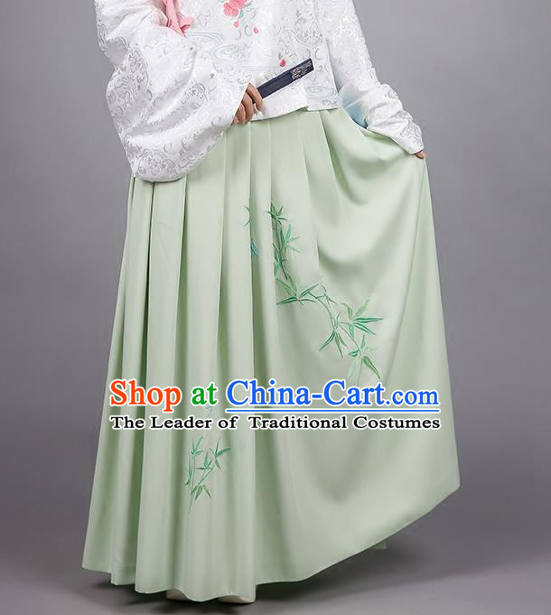 Asian Chinese Ming Dynasty Imperial Princess Costume, Ancient China Palace Lady Embroidered Bamboo Green Skirt for Women