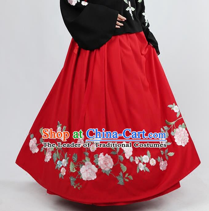 Asian Chinese Ming Dynasty Princess Costume Embroidery Red Skirts, Ancient China Palace Lady Embroidered Dress for Women