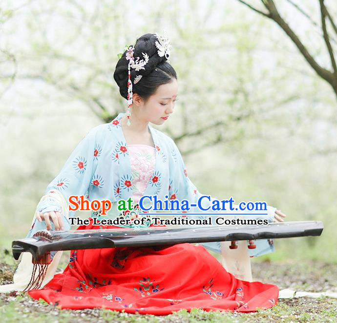 Traditional Chinese Ancient Hanfu Costume Blouse and Skirts Complete Set, Asian China Tang Dynasty Princess Embroidered Clothing for Women