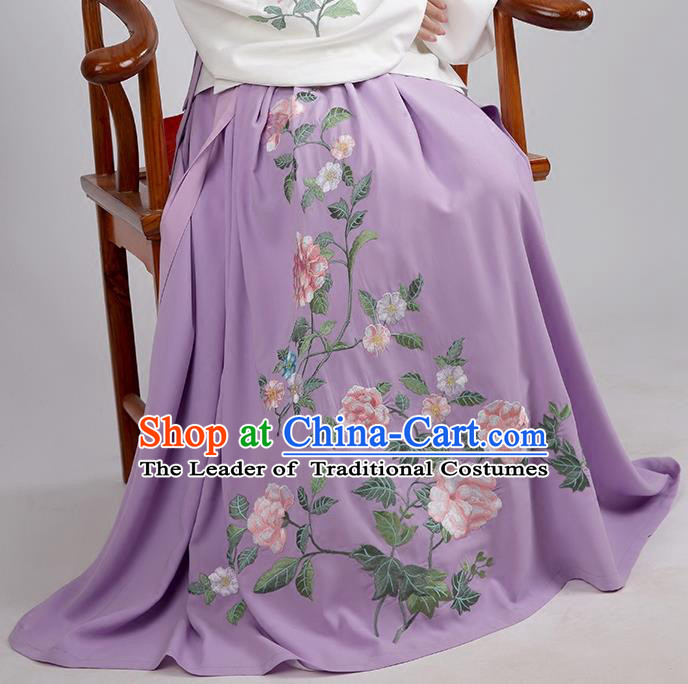 Asian Chinese Ming Dynasty Princess Costume Embroidery Peony Purple Skirts, Ancient China Palace Lady Embroidered Dress for Women