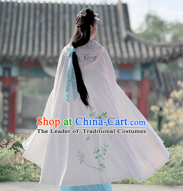Asian Chinese Ming Dynasty Princess Costume Embroidery White Cloak, Ancient China Palace Lady Embroidered Mantle for Women