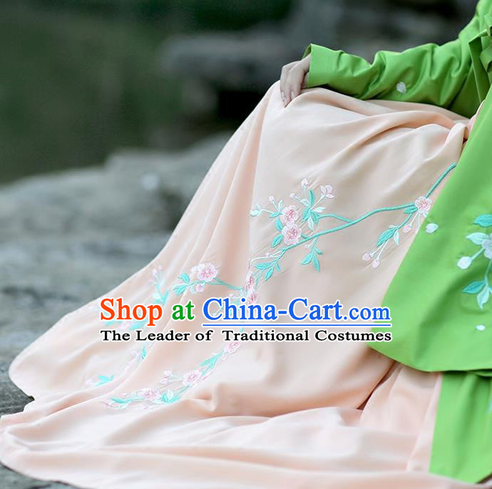 Traditional Chinese Ancient Hanfu Princess Costume Pink Bust Skirts, Asian China Ming Dynasty Embroidered Dress for Women