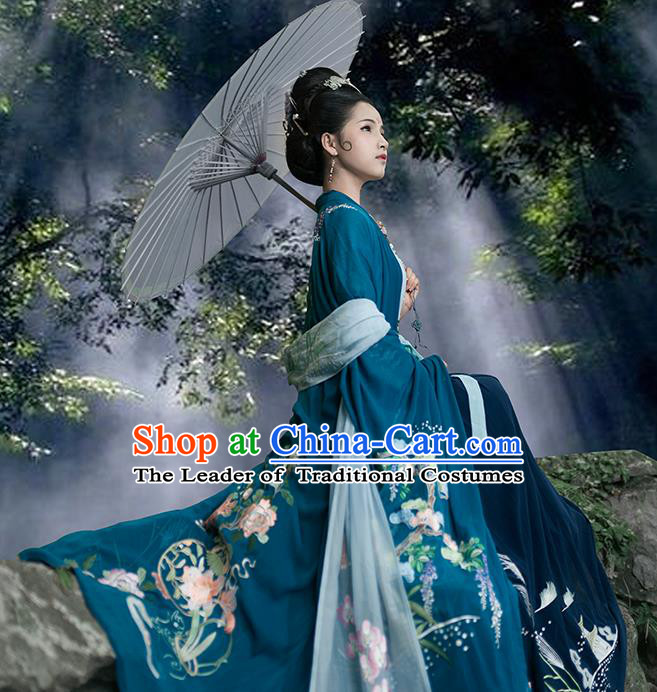 Traditional Chinese Ancient Hanfu Costume Peacock Blue Embroidered Cardigan, Asian China Jin Dynasty Wide Sleeve Cloak for Women