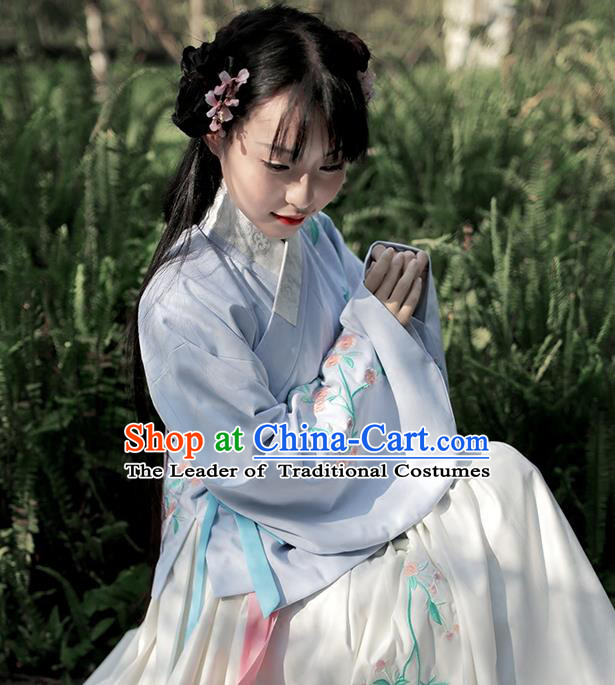 Traditional Chinese Ancient Hanfu Costume Embroidered Slant Opening Blue Blouse, Asian China Ming Dynasty Princess Upper Outer Garment Clothing for Women