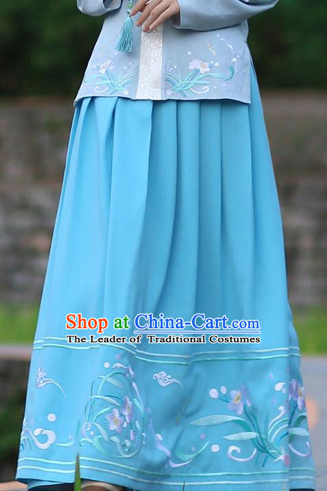 Asian Chinese Ming Dynasty Hanfu Costume Embroidered Blue Bust Skirt, Traditional China Ancient Princess Dress Clothing for Women